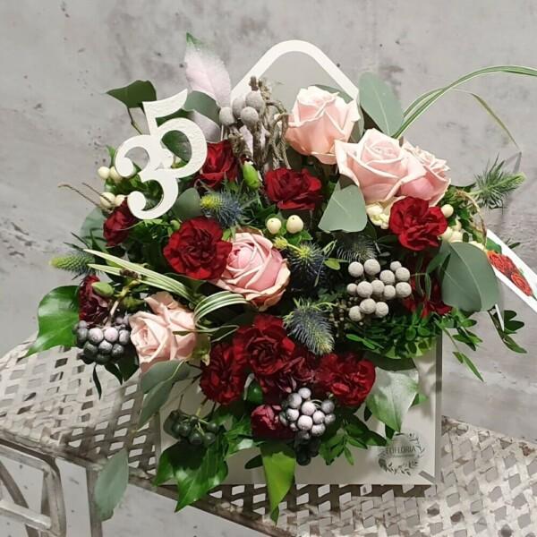 """EKO Flower box kwiatów ciętych """"koperta"""" (z dedykowaną liczbą 18-100) – FB 17"""